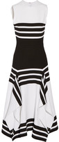 Rosetta Getty Striped Stretch-jersey Midi Dress - White