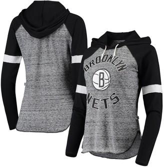Women's Touch Black Brooklyn Nets Season Opener Raglan Hoodie Long Sleeve T-Shirt
