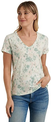 Lucky Brand Short Sleeve V-Neck Floral Tee (Natural Multi) Women's Clothing