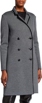 St. John Graphic Twill Knit Coat with Belt