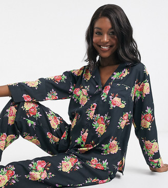 ASOS DESIGN Maternity floral shirt & pants pyjama set in 100% modal