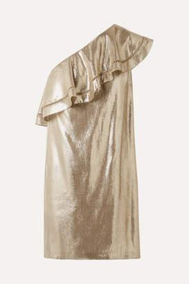 Rachel Zoe Marina Ruffled One-shoulder Metallic Silk-blend Jacquard Mini Dress - Gold