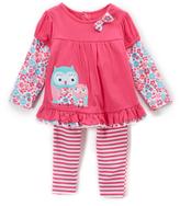 Buster Brown Fuchsia Purple & Whisper White Owls Top and Leggings - Infant
