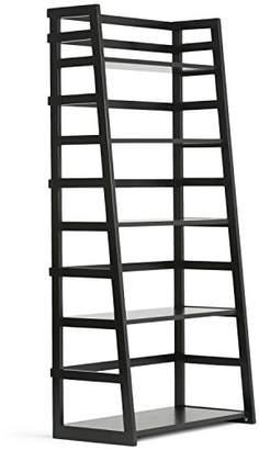 Simpli Home AXSS008KD-BL Acadian Solid Wood 63 inch x 30 inch Rustic Ladder Shelf Bookcase in