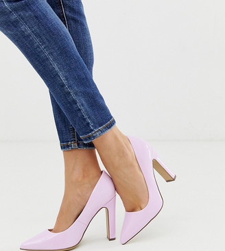 New Look wide fit patent block heel pumps in lilac