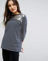 Asos T-Shirt With Sequin Yoke In Stripe