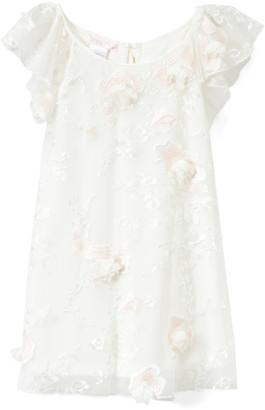 Biscotti Girls' Special Occasion Dresses IVORY - Ivory Floral-Accent Flutter-Sleeve Dress - Infant, Toddler & Girls
