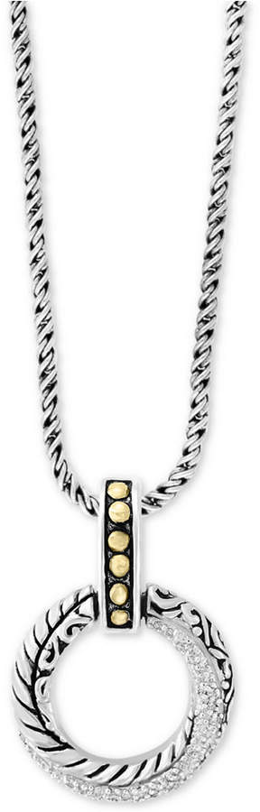 """Effy Balissima by Diamond Circle 18"""" Pendant Necklace (1/8 ct. t.w.) in Sterling Silver & 18k Gold"""