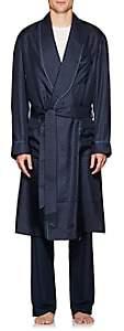 Barneys New York Men's Polka Dot Silk Twill Robe - Navy