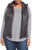 MICHAEL Michael Kors Plus Size Women's Mixed Media Hooded Front Zip Vest