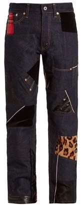 Junya Watanabe Straight-leg Contrast-panel Cotton-denim Jeans - Womens - Indigo