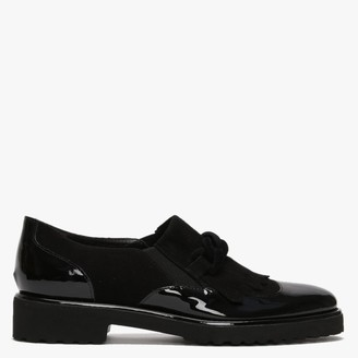 Luca Grossi Lumino Black Patent Leather Fringe Loafers