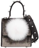 Les Petits Joueurs Micro Alex Bunny Velvet & Leather Satchel Bag