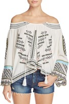 Vintage Havana Embellished Off-the-Shoulder Peasant Top
