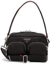 Prada Logo-plaque Nylon Shoulder Bag - Womens - Black Red
