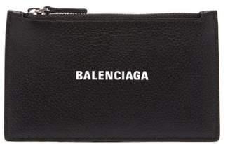 Balenciaga Logo-print Zipped Leather Cardholder - Mens - Black