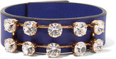Marni Leather, gold-tone and crystal bracelet