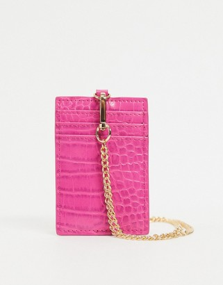 ASOS DESIGN necklace chain card holder in hot pink croc