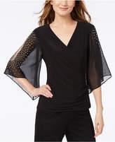 MSK Embellished Split-Sleeve Surplice Top