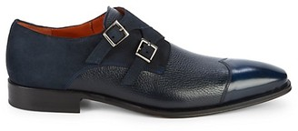 Mezlan Textured Leather Suede Double Monk Strap Loafers