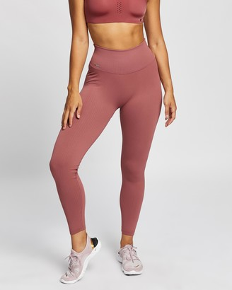 Aim'n - Women's Pink Tights - Pink Beat Ribbed Seamless Tights - Size XS at The Iconic