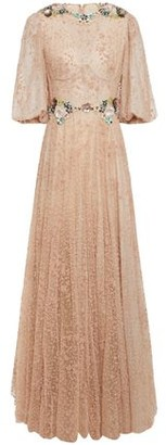 Costarellos Layered Embellished Flocked Tulle Gown