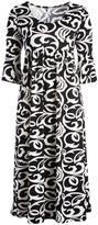 Glam White & Black Damask Empire-Waist Dress - Plus