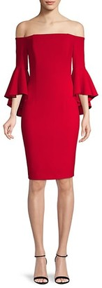 Calvin Klein Off-The-Shoulder Ruffled Bell-Sleeve Dress