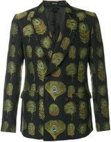 Alexander McQueen peacock feather embroidered blazer