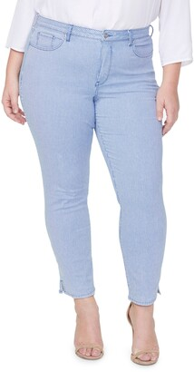 Curves 360 by NYDJ Stripe Split Hem Ankle Slim Jeans