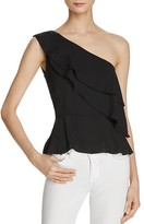 Olivaceous Ruffled Georgette One Shoulder Top