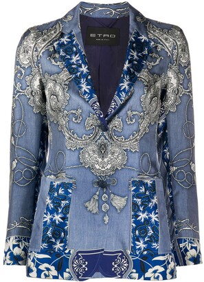 Etro Bandana-Print Single-Breasted Blazer