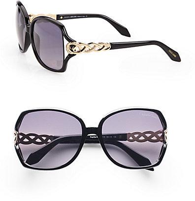 Roberto Cavalli Paprika Metal Criss-Cross Accented Oversized Square Sunglasses/Black
