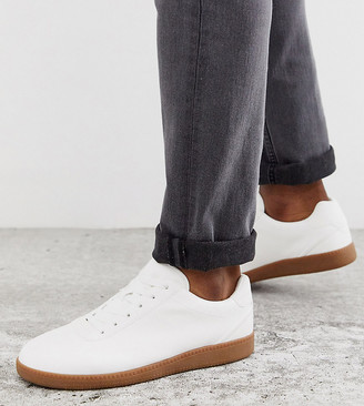 ASOS DESIGN Wide Fit lace up trainers in white faux suede with gum sole