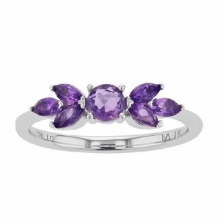 Lauren Conrad 10k White Gold Gemstone Floral Ring