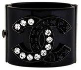 Chanel Black & White Crystal CC Resin Cuff Bracelet