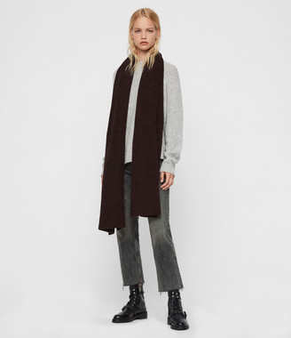 AllSaints Wide Twisted Wool Blend Scarf