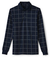 Classic Men's Tall Long Sleeve Supima Knit Jacquard Polo Shirt-Dark Charcoal Heather Plaid