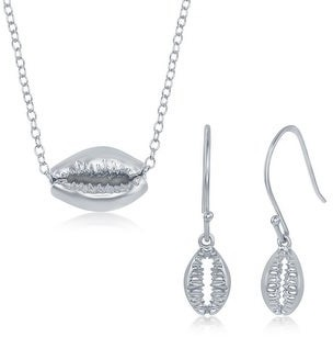La Preciosa 925 Sterling Silver Rhodium Plated Boho Cowrie Shell 16+2?? Necklace and Dangling Earrings Set