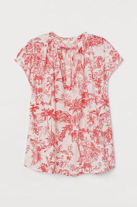 H&M Tie-collar Cotton Blouse - Red