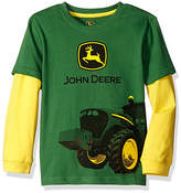 John Deere Green & Yellow Tractor Mud Long-Sleeve Tee - Boys