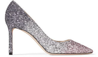 Jimmy Choo ROMY 85 Ballet Pink, Silver and Anthracite Triple Glitter Degrade Pointed Pumps