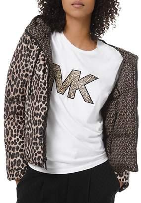 MICHAEL Michael Kors Reversible Leopard & Logo-Print Down Jacket