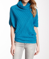Sisters Blue Turtleneck Cape-Sleeve Sweater