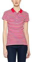 Tommy Hilfiger Women's New Chiara Str PQ Polo SS Shirt, White (Fiery Red/Classic White)
