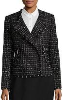 Karl Lagerfeld Paris Fringed Windowpane Tweed Blazer