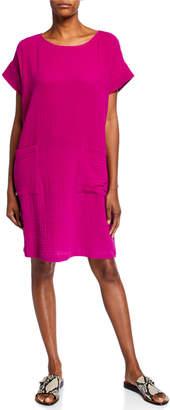 Eileen Fisher Petite Organic Cotton Short-Sleeve Gauze Dress