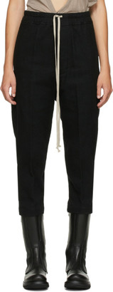 Rick Owens Black Wool Cropped Astaire Drawstring Trousers