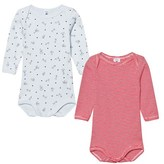 Petit Bateau 2 Pack of Red Stripe and Mouse and Dog Print Long Sleeve Bodies