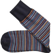 Johnston & Murphy Men's Pima Cotton Mini Stripe (2 Pairs) - Navy Multi Striped Socks